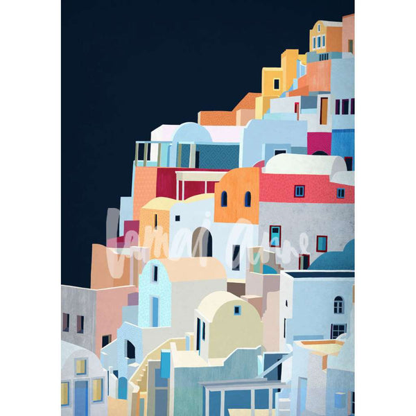 Santorini Portrait print, by Lamai Anne. Australian Art Prints. Green Door Decor. www.greendoordecor.com.au