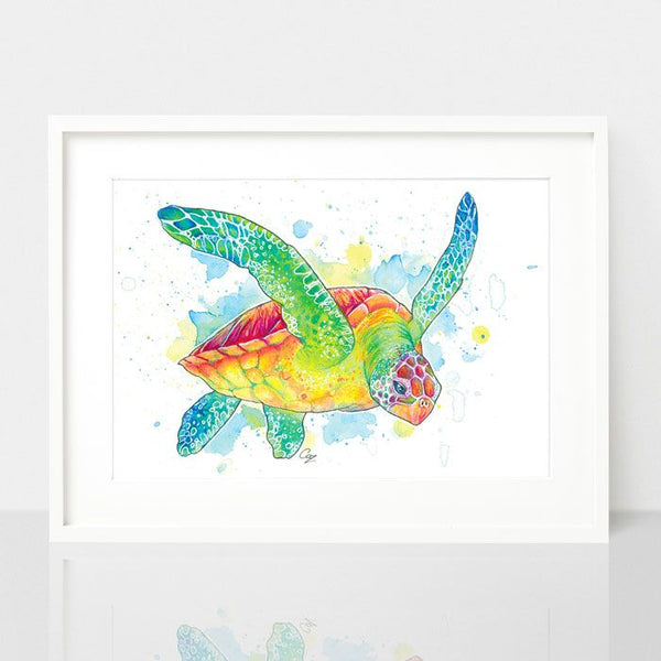 Sea Turtle print, by Earthdrawn Studio. Australian Art Prints. Green Door Decor.  www.greendoordecor.com.au