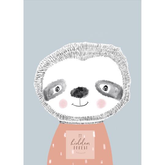 Seth the Sloth print, by My Hidden Forest. Australian Art Prints. Green Door Decor.  www.greendoordecor.com.au