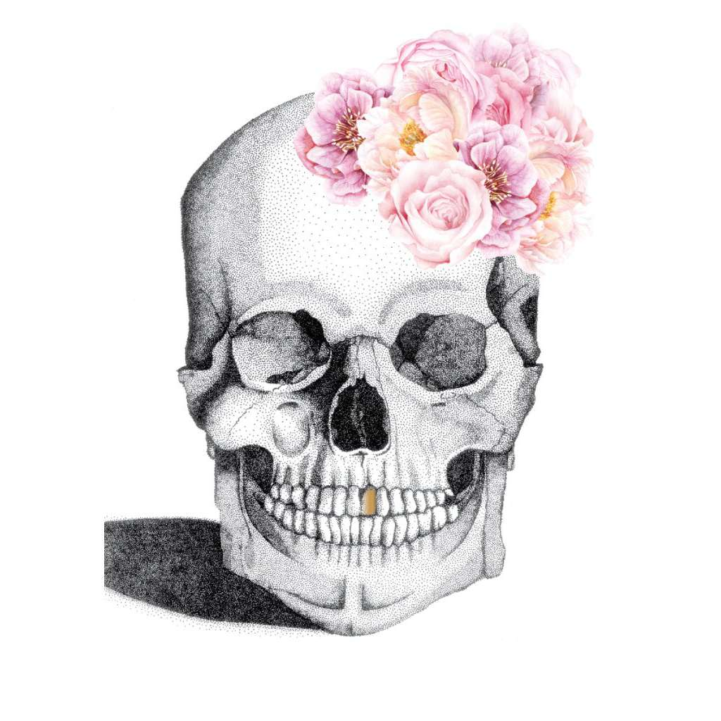 Luxe Skull with Flower Crown & Gold Foil Leaf Tooth (Limited Edition)