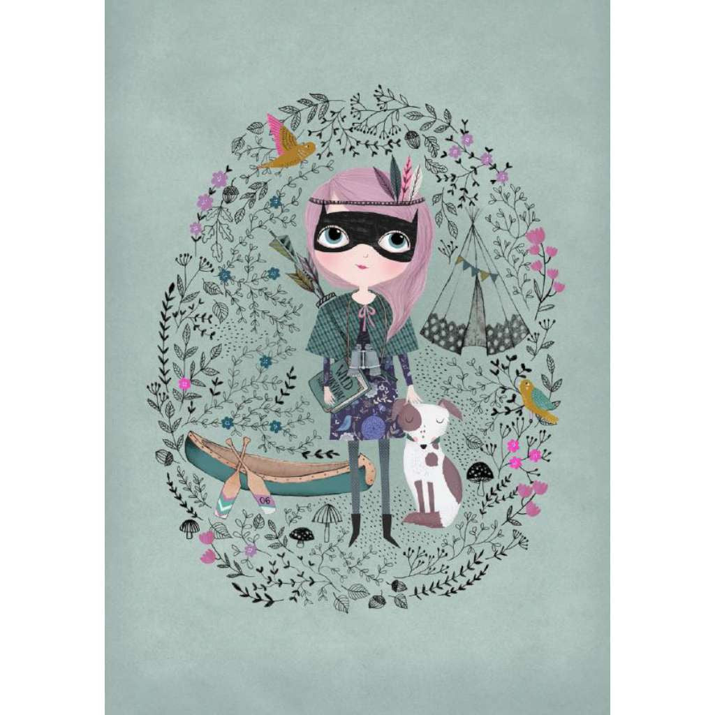 Spy Girl, by Black & Type. Australian Art Prints. Green Door Decor.  www.greendoordecor.com.au