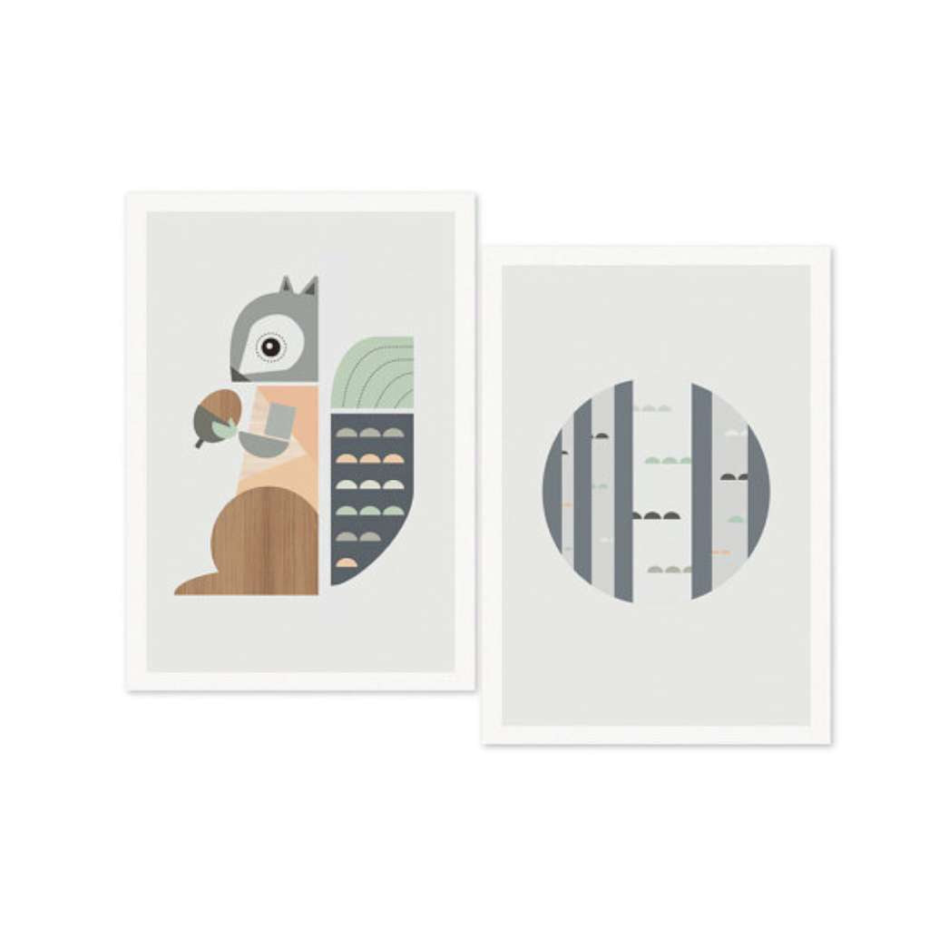 Squirrel and Trees Set