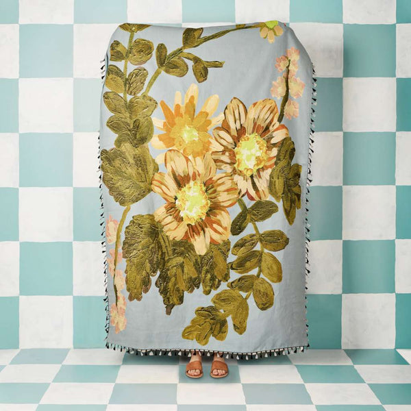 Poppy Light Blue Throw. Australian Art Prints and Homewares. Green Door Decor. www.greendoordecor.com.au