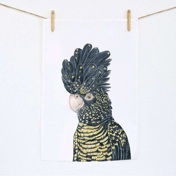Tea Towel - Lily the Red Tailed Black Cockatoo
