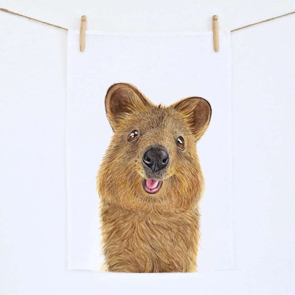 Quentin the Quokka Tea Towel. Australian Art Prints. Green Door Decor.  www.greendoordecor.com.au