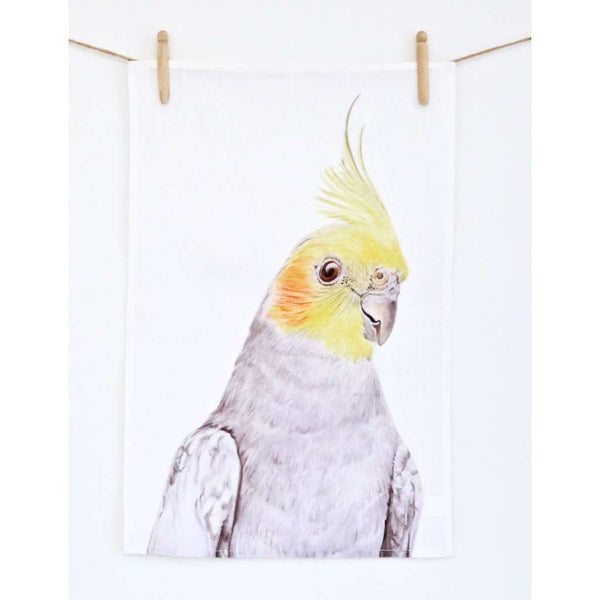 Tea Towel - Colin the Cockatiel