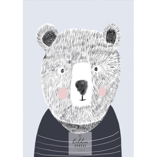 Teddy the Bear print, by My Hidden Forest. Australian Art Prints. Green Door Decor.  www.greendoordecor.com.au