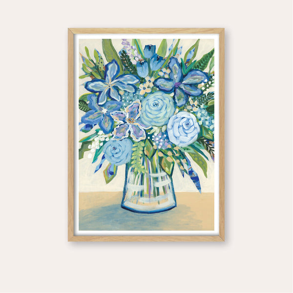 The Blue Bunch Fine Art Print - framed - by Daniela Fowler Art. Australian Art Prints. Green Door Decor. www.greendoordecor.com.au