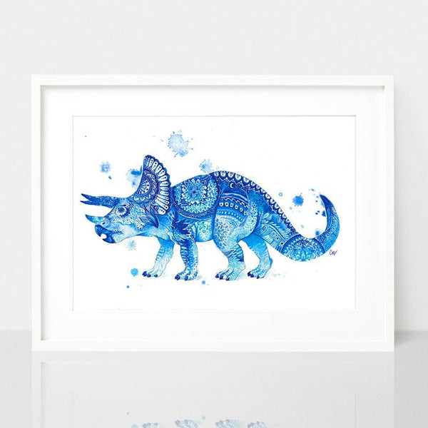 Trish the Triceratops print, by Earthdrawn Studio. Australian Art Prints. Green Door Decor. www.greendoordecor.com.au