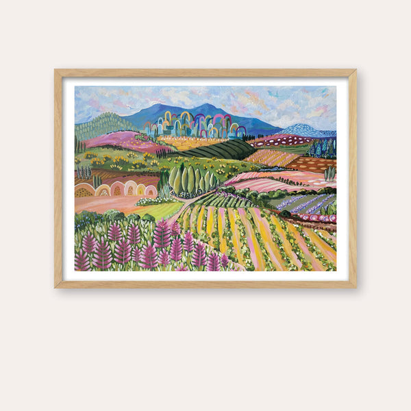 Tuscan Ranges 1 Fine Art Print - framed - by Daniela Fowler Art. Australian Art Prints. Green Door Decor. www.greendoordecor.com.au