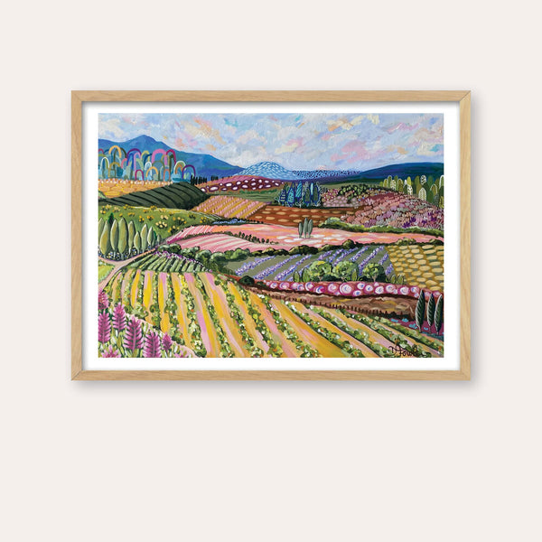 Tuscan Ranges 2 Fine Art Print - framed - by Daniela Fowler Art. Australian Art Prints. Green Door Decor. www.greendoordecor.com.au
