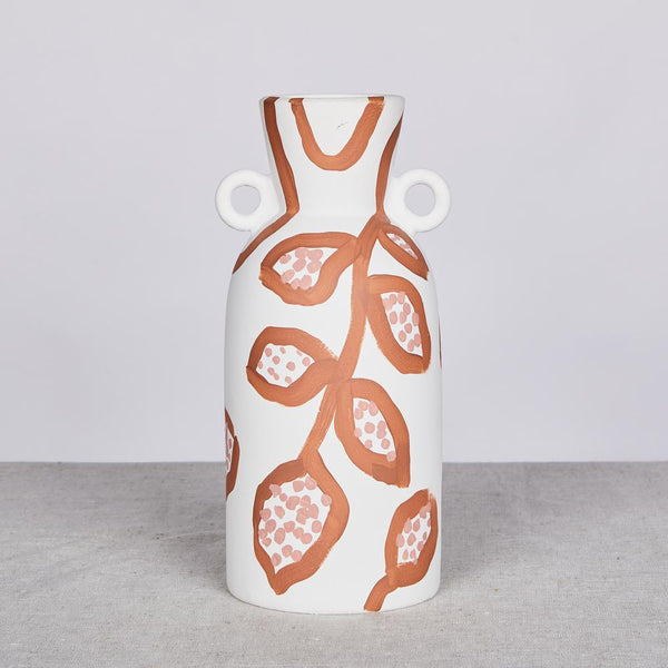 Spotted Begonia Terracotta Tall Vase by Bonnie and Neil. Australian Art Prints and Homewares. Green Door Decor. www.greendoordecor.com.au