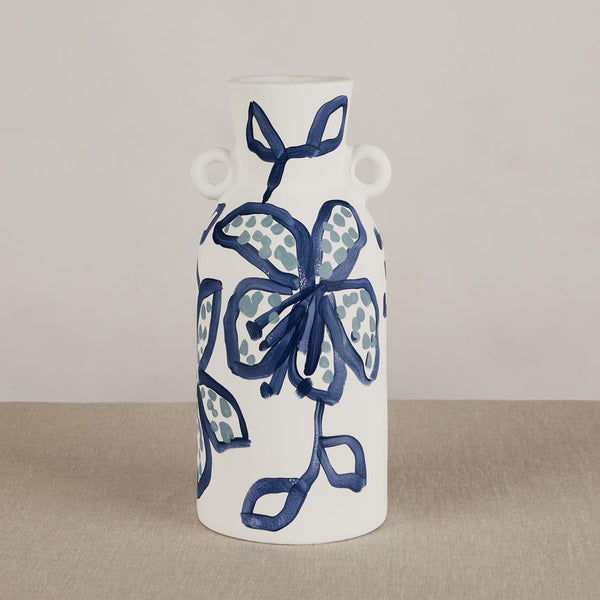 Spotted Begonia Tiger Lily Blue Tall Vase by Bonnie and Neil. Australian Art Prints and Homewares. Green Door Decor. www.greendoordecor.com.au