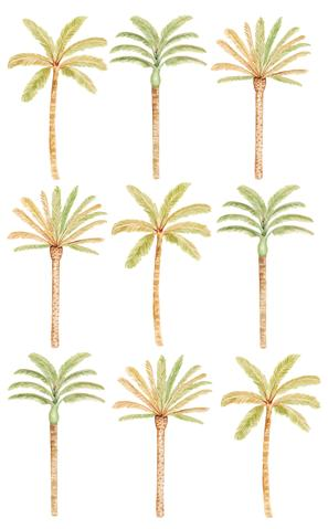 Wall Stickers - Happy Palms - Green Mixed (9 palm trees), by Sailah Lane. Australian Art Prints. Green Door Decor. www.greendoordecor.com.au