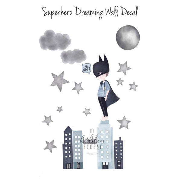 Wall Decal - 'Superhero Dreaming', by My Hidden Forest. Australian Art Prints. Green Door Decor. www.greendoordecor.com.au