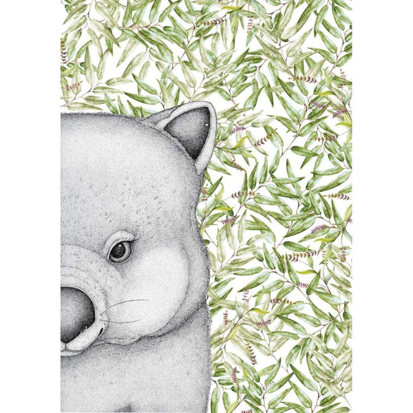 Walter the Wombat, by Dots by Donna. Australian Art Prints. Green Door Decor. www.greendoordecor.com.au