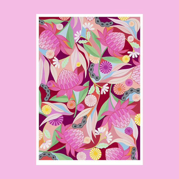 Waratah Whirl, by Claire Ishino. Australian Art Prints. Green Door Decor. www.greendoordecor.com.au