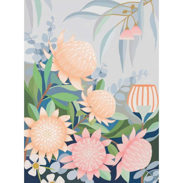Waratah in the Wind, by Claire Ishino. Australian Art Prints. Green Door Decor.  www.greendoordecor.com.au