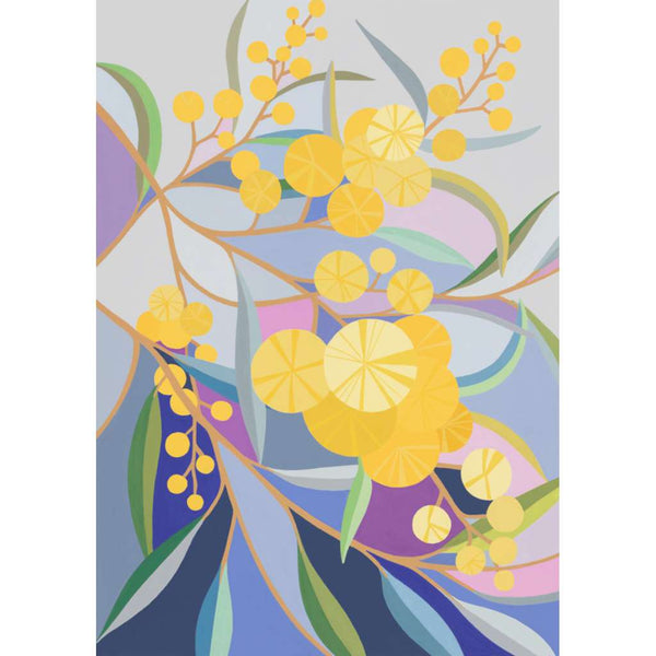 Wattle On My Walk, by Claire Ishino. Australian Art Prints. Green Door Decor.  www.greendoordecor.com.au