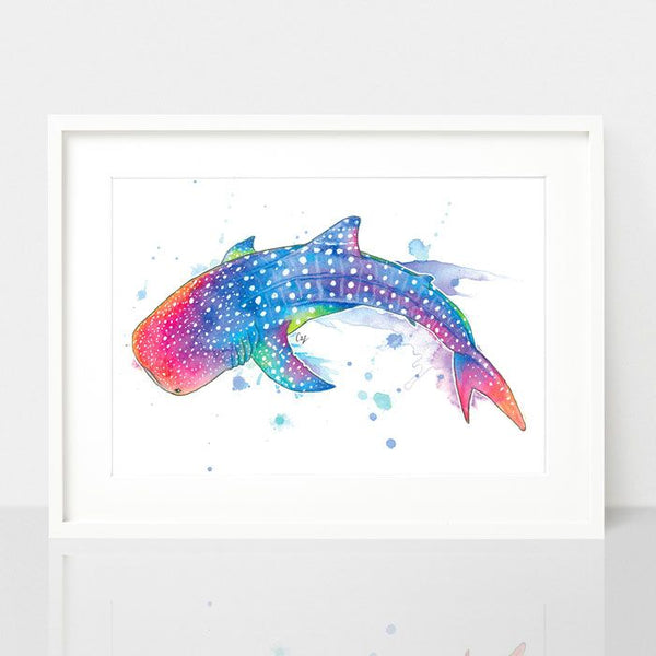 Whale Shark print, by Earthdrawn Studio. Australian Art Prints. Green Door Decor.  www.greendoordecor.com.au