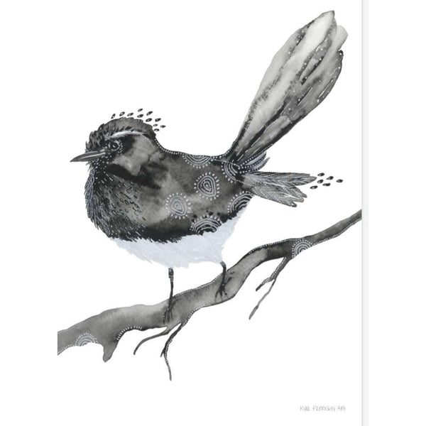 Willy Wagtail print, by Kylie Ferriday. Australian Art Prints. Green Door Decor.  www.greendoordecor.com.au