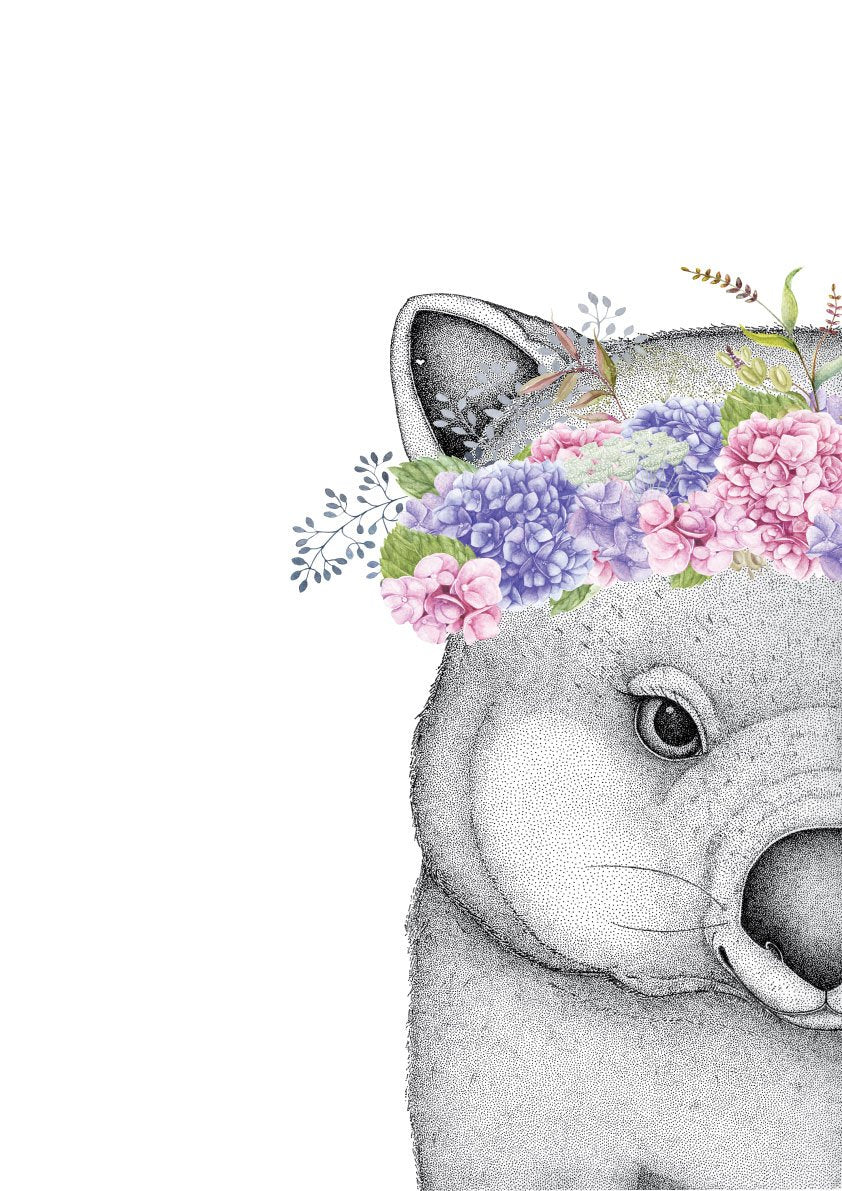 Winnie the Wombat with Hydrangea Crown, by Dots by Donna. Australian Art Prints. Green Door Decor. www.greendoordecor.com.au