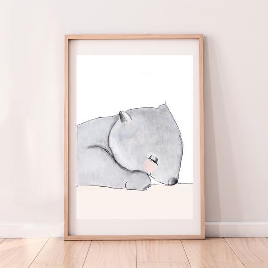 Winslow the Wombat print, by My Hidden Forest. Australian Art Prints. Green Door Decor.  www.greendoordecor.com.au