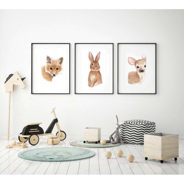 Woodland Creatures Collection Set of 3 Prints by Cassie Zaccardo. Australian Art Prints and Homewares. Green Door Decor. www.greendoordecor.com.au