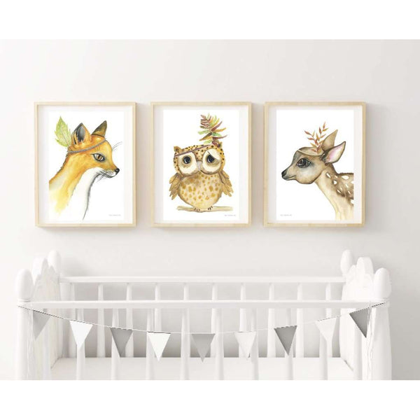 Woodland Collection - Set of 3 prints, by Kylie Ferriday. Australian Art Prints. Green Door Decor.  www.greendoordecor.com.au