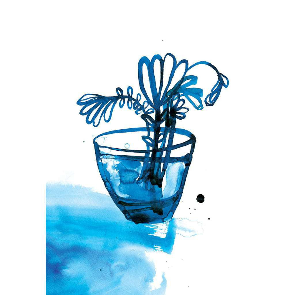 Blue Vase Print- unframed - by Paula Mills Art. Australian Art Prints. Green Door Decor. www.greendoordecor.com.au