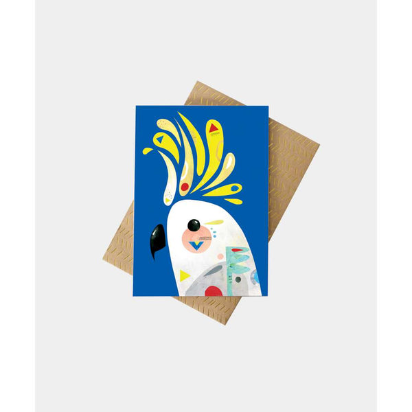 Cockatoo Greeting Card by Pete Cromer. Australian Art Prints and Homewares. Green Door Decor. www.greendoordecor.com.au