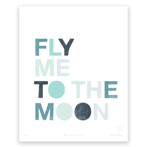 Fly me to the moon, by Printspace. Australian Art Prints. Green Door Decor.  www.greendoordecor.com.au
