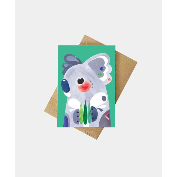 Koala Greeting Card by Pete Cromer. Australian Art Prints and Homewares. Green Door Decor. www.greendoordecor.com.au
