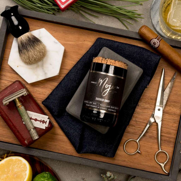 Barber Shop Candle by Mojo Candle Co. Australian Art Prints and Homewares. Green Door Decor. www.greendoordecor.com.au