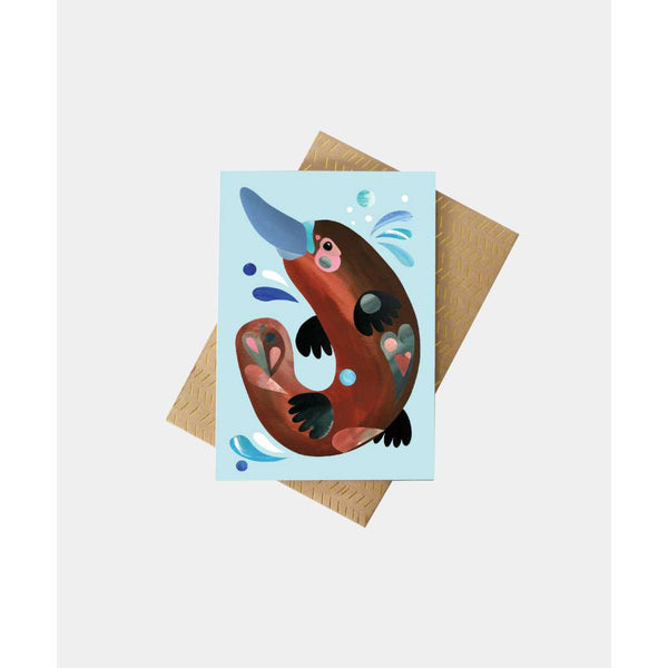 Platypus Greeting Card by Pete Cromer. Australian Art Prints and Homewares. Green Door Decor. www.greendoordecor.com.au
