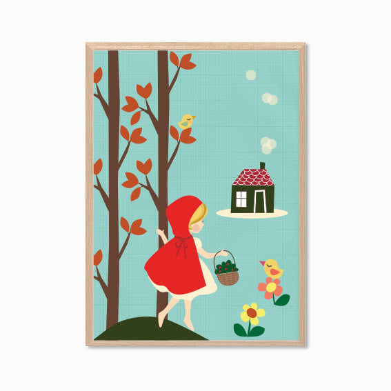 Red Riding Hood print, by Hello Miss May. Australian Art Prints. Green Door Decor. www.greendoordecor.com.au