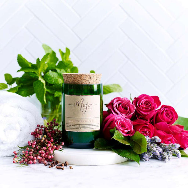 Rose, Pepper and Blackmint Candle by Mojo Candle Co. Australian Art Prints and Homewares. Green Door Decor. www.greendoordecor.com.au