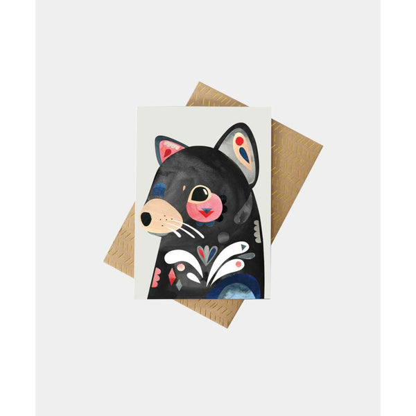 Tasmanian Devil Greeting Card by Pete Cromer. Australian Art Prints and Homewares. Green Door Decor. www.greendoordecor.com.au