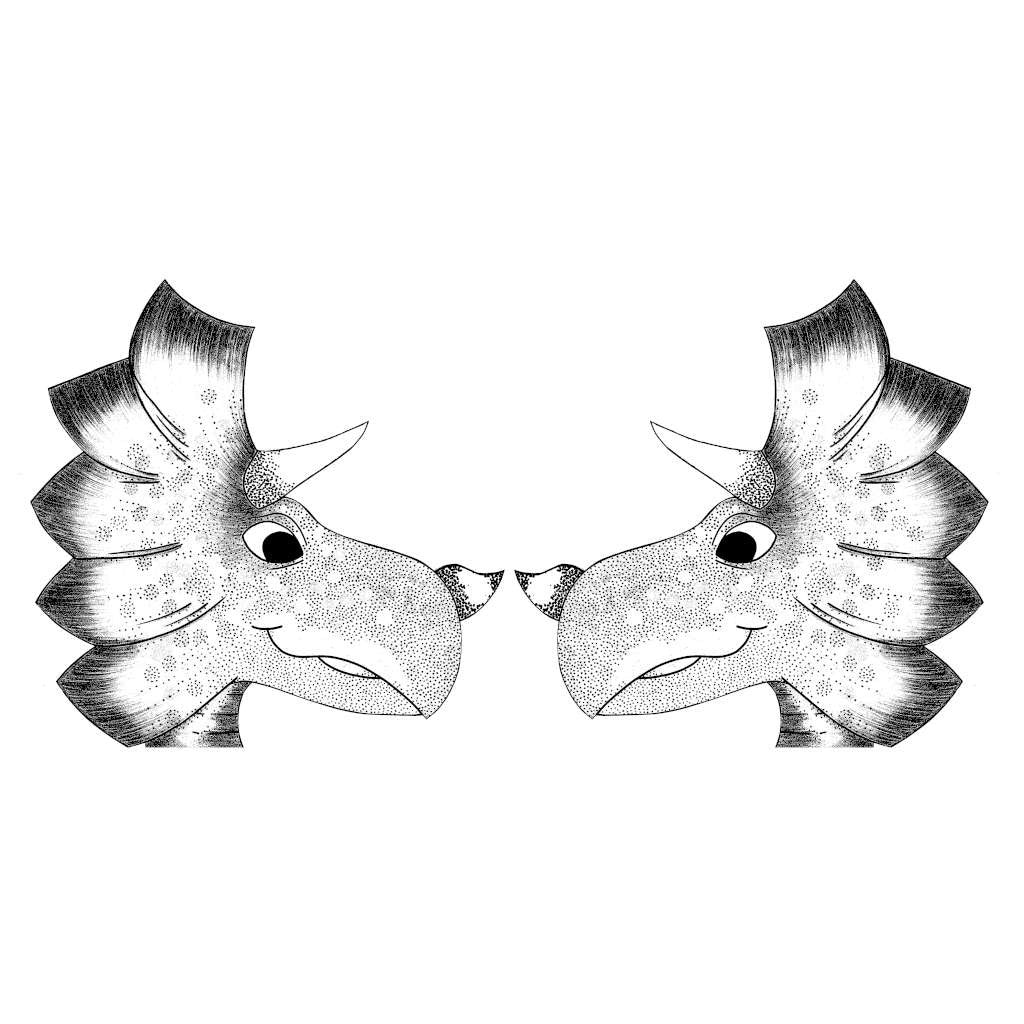 Twin Triceratops Raw (Black & White)