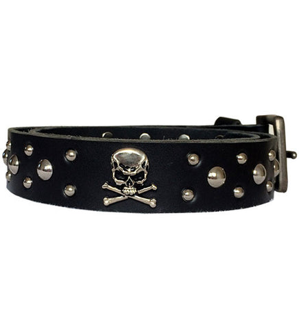 Black Bart Cowhide Skull and Crossbones Conchos and Studs Belt