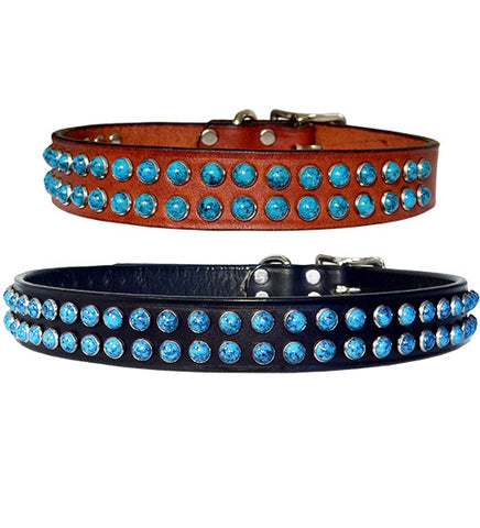 "LA DOBLE TURQUOISE Leather Buckle Collar 14""- 26"""