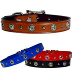 "ROPE BEZELS & Bling Leather Buckle Collar 16""- 26"""