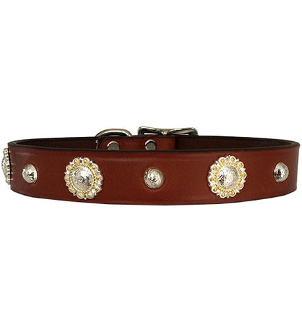 "ROPED BERRY CONCHO Leather Buckle Collar 16""- 26"""
