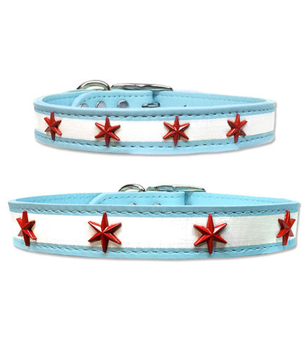 "CHI DOG Chicago Flag Soft Leather Buckle Collar with Four Chicago Star Conchos 8"" - 23"""