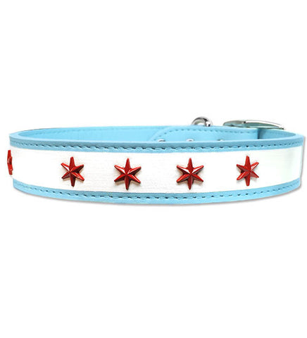 "CHI-DOG Chicago Flag Soft Leather Buckle Collar with Eight Chicago Star Conchos - 16"" - 23"""