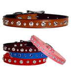 "MIXED SIZE SWAROVSKI Leather Buckle Collar 12""- 26"""