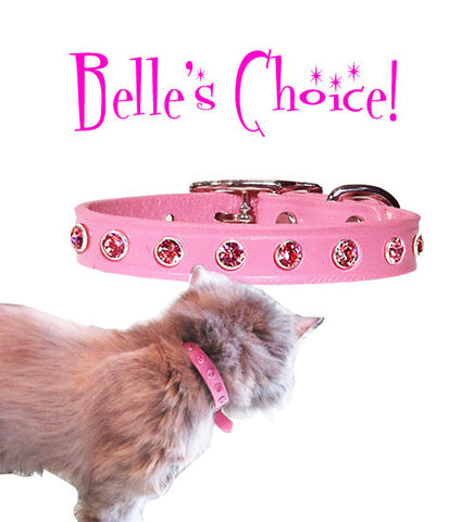 "Belle's Choice LITTLE BIG BLING 6mm Swarovski Petite Leather Buckle Collar  6""- 10"""