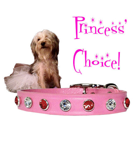 "Princess' Choice ... LITTLE BIG BLING SWAROVSKI Valentine Petite Leather Buckle Collar 6""- 10"""