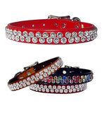 "DOUBLE SWAROVSKI Bling Leather Buckle Collar 12""- 26"""