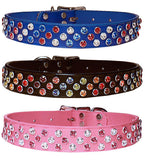 "TRIPLE BLING SWAROVSKI Leather Buckle Collar 16""- 26"""